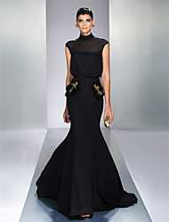 Formal Evening Dress - Black Plus Sizes Trumpet/Mermaid High Neck Sweep/Brush Train Chiffon