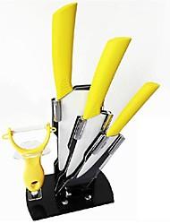 5 Pièces couteau en céramique Ensemble avec support de couteau, 4'' 6'' Couteau Couteau 6.5'' couteau de chef et Peeler avec support acrylique