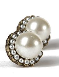 Yiyi élégant Peral Diamand-Deged Entro Earring (Blanc)
