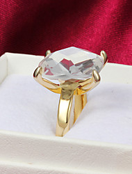 High Quality Delicate Gold Plated Clear Rhinestone Square Women's Ring
