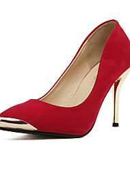 C-Show Women's Elegant Metal Pointy Toe Suede Stiletto Heel Pumps