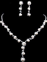 Wedding Elegant Pearl Rhinestone Crystal Earrings & Necklace Jewelry Set