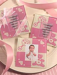 Práctico de costa del bebé rosado lindo oso de vidrio, juego de 2