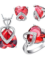 Heart Multicolor Cubic Zirconia (Necklaces&Earrings&Rings) Gemstone Jewelry Sets