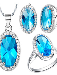 Oval Blue Cubic Zirconia (Necklaces&Earrings&Rings) Gemstone Jewelry Sets