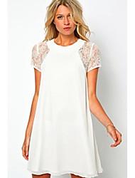Dexon Goods Women's Elegant&Sexy White lace print dress