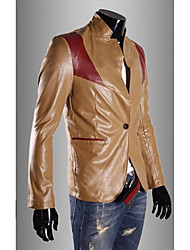 Men's Long Sleeve Casual Jacket,PU Color Block Brown / Red