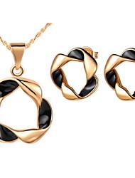 Cork Hoop Black Silver Plated (Necklaces&Earrings) Wedding Jewelry Sets