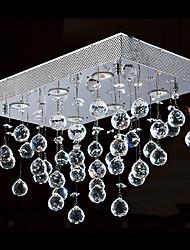 Crystal Flush Mount, 6 Light, Contemporary Minimalist Iron Electroplating