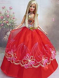 Muñeca Barbie vestido de novia de encaje rojo de estilo chino