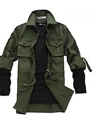 Men's Long Sleeve Jacket , Cotton/Lycra Casual Pure