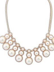 European and America Elegant (Gourds) Alloy Chain Statement Pearl Necklace  (1 pc)