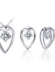 Oval Silver Silver Plated (Necklaces&Earrings) Wedding Jewelry Sets