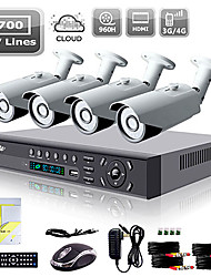 Liview® 4CH HDMI 960H Network DVR 700TVL Outdoor Day/Night Security Camera System
