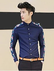 Men's Fashion Brand Long Sleeve Casual Slim Flower Shirt