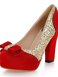 Sparkling Glitter/Velvet Women's Chunky Heel Heels Pumps/Heels  With Bowknot Shoes(More Colors)