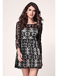 Сексуальная Черный Белый Длинные рукава Кружева Конькобежец платье Клубная одежда