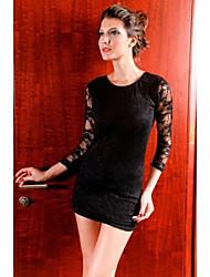 Mini vestido de manga larga de encaje Negro