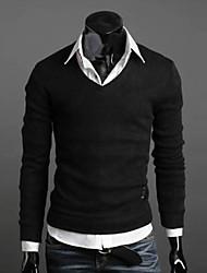 INMUR Herren V Neck Pullover mit langen Ärmeln Solid Color Sweater
