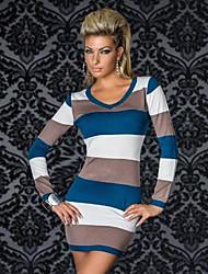 y&raya de la manga larga del multicolor Vestido ajustado atractivo de las mujeres d