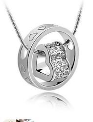 Moda (en forma de corazón) collar pendiente cristalino de plata (blanco, azul marino, rosa) (1 PC)