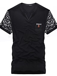 Men's Print Casual T-Shirt,Cotton Short Sleeve-Black / Gray