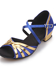 Women And Kids' Satin Cross Stripe Chunky Heel Sandals Dance Shoes (More Colors)