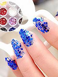 1PCS шестиугольная Блеск Таблетки Nail Art украшения № 7-12 (разных цветов)