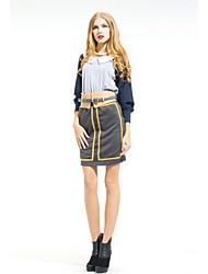 Zoely Women's Sexy High Waist Golden Stripe Bodycon Knee Length  Skirt 101131Q056