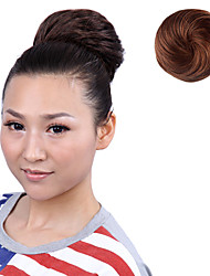 Rubber Band Tied Japanese Kanekalon Fiber Synthetic Light Brown Straight Short Hair Extensions