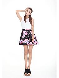 Zoely Frauen süße runde Ausschnitt Blumendruck A-Line Kleid 101123L041