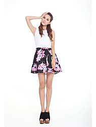 Neck doce Rodada de Zoely Mulheres Floral Imprimir A-Line Vestido de 101123L041
