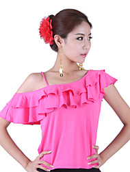 Dancewear Women's Viscose Latin Dance Off The Shoulder Ruffle Neck Top(More Colors)