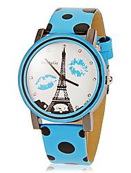 Padrão da Mulher Torre Desenho de Ondas Ponto Pu banda quartzo analógico relógio de pulso (cores sortidas)