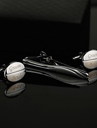 Gift Groomsman Personalized Oval Cufflinks and Tie Clip Sets with Gift Box