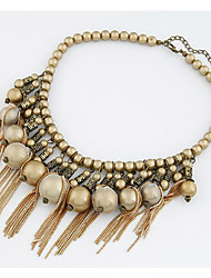 Women's Euramerican Fashion Golden Beads Necklace With Tassels
