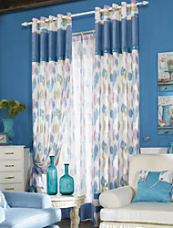 Two Panels Modern Geometric Blue Bedroom Polyester Panel Curtains Drapes