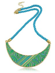 Foreign trade India wind jewelry chain Bohemian blue pattern crescent moon cotton rope necklace
