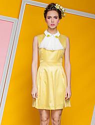 Сладкий Европейский Стиль Плиссированные платье без рукавов Kaluleaf Женская (желтый)