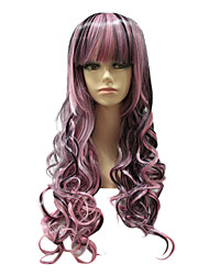 Capless Synthetic Mixed Color Long Straight Synthetic Hair Wig+two Ponytails