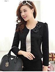 Women's Black/White Blazer , Work Long Sleeve
