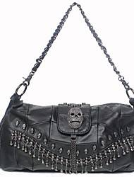 Maga Women's Delicate Punk Style Skull Sheepskin Rivet Tassel One Shoulder/Crossbody Bag(Black)