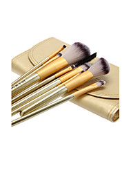 10PCS Wooden Handle Makeup Brush Set with Gold Leatherette Pouch