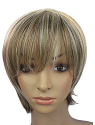 Capless Short flaxen Straight Synthetic Party Wig