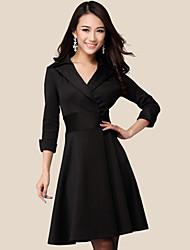 Yiluo moda tamanho grande fino vestido de manga 3/4 (preto)