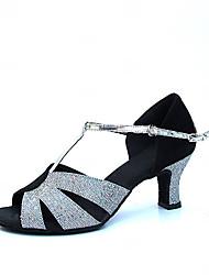 Satin & блестками Коренастый пятки Обувь для танцев женские с пряжкой Современные / Бальные каблуках