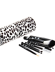 8PCS Wooden Handle Makeup Brush Set with Cow Pattern Cylinder Tube