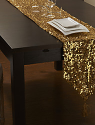 Golden Sequins Table Runner with Tassel