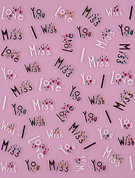 Art 3D Design Noir mots d'amour Motif strass Nail Stickers