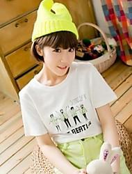 Damen Druck Einfach / Street Schick Lässig/Alltäglich T-shirt Frühling / Sommer / Herbst Kurzarm Weiß Baumwolle Dünn